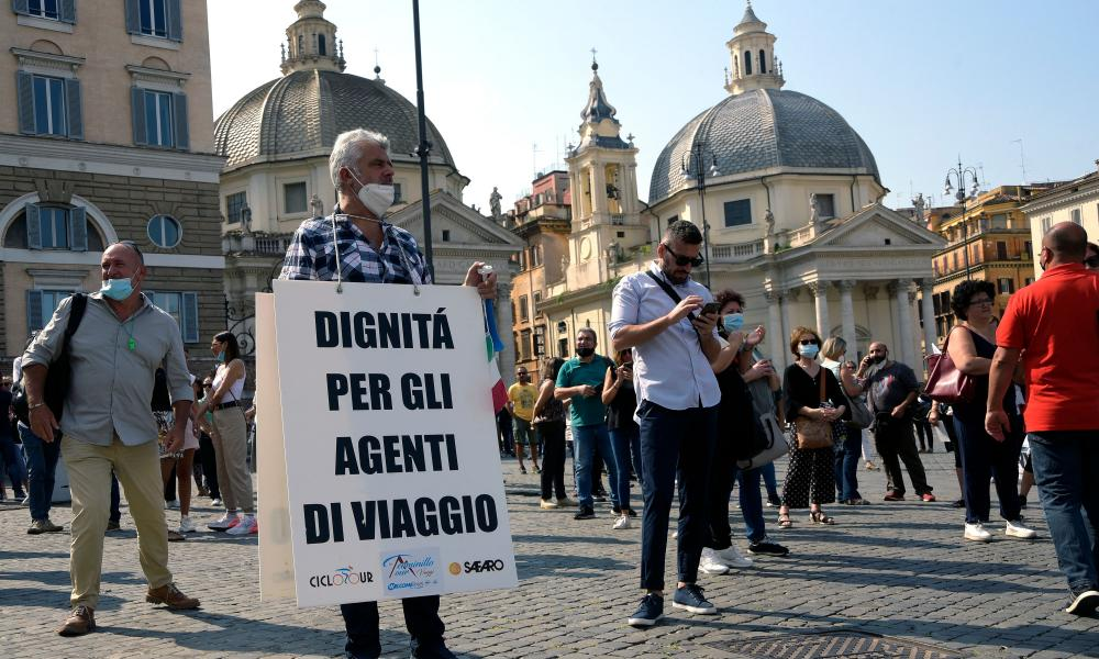 Travel agents protest in Rome, Italy.