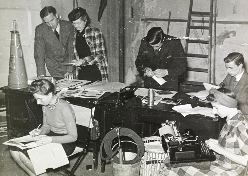 Working for the war effort: staff working in the bomb cellar of One New Bond Street during second world war.