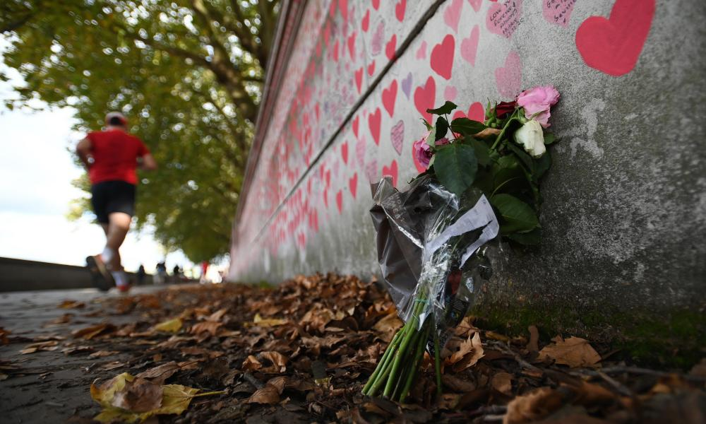 A floral tribute to the pandemic's victims at the Covid-19 Memorial Wall in central London.