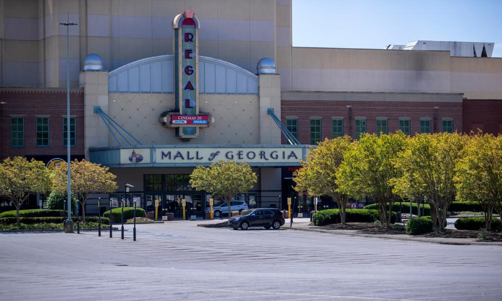 The nearly empty parking lot of the Mall of Georgia in Buford, Georgia, USA, 15 April 2020.