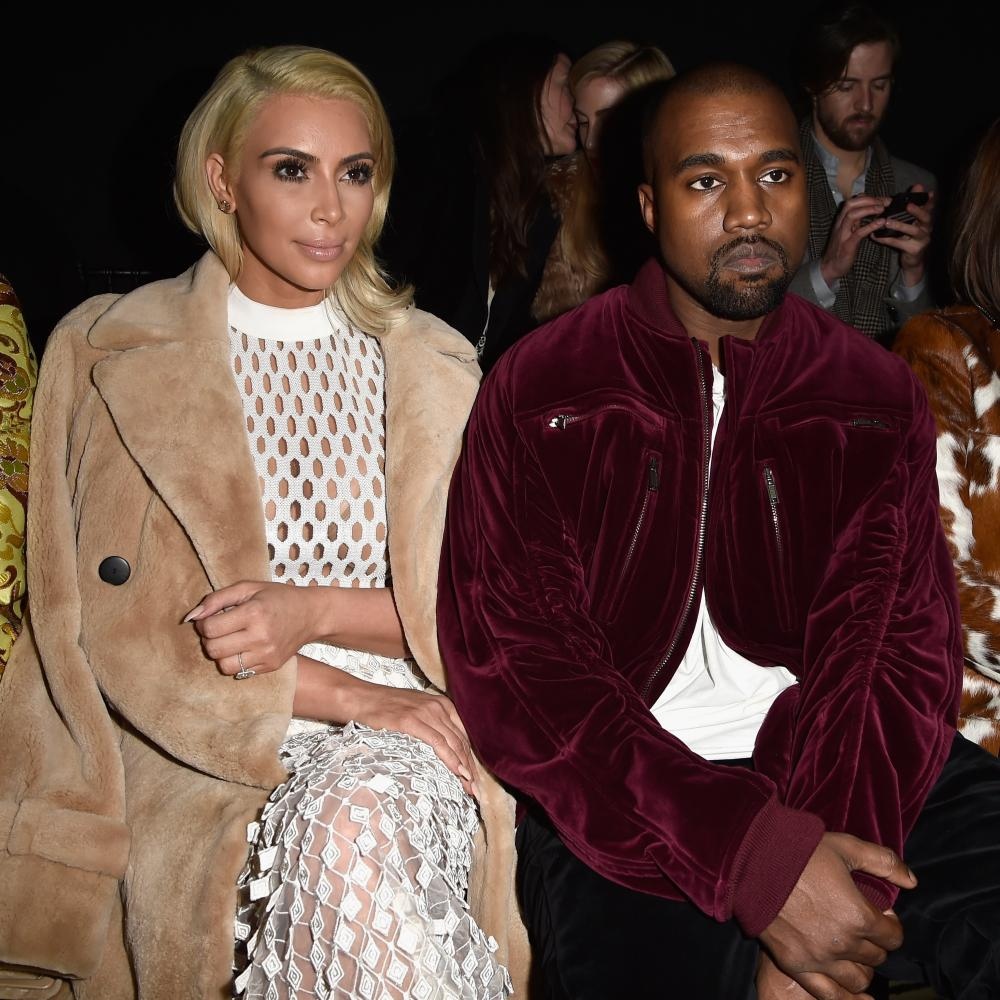 Kim Kardashian West and Kanye West on the front row during Paris fashion week, 2015.