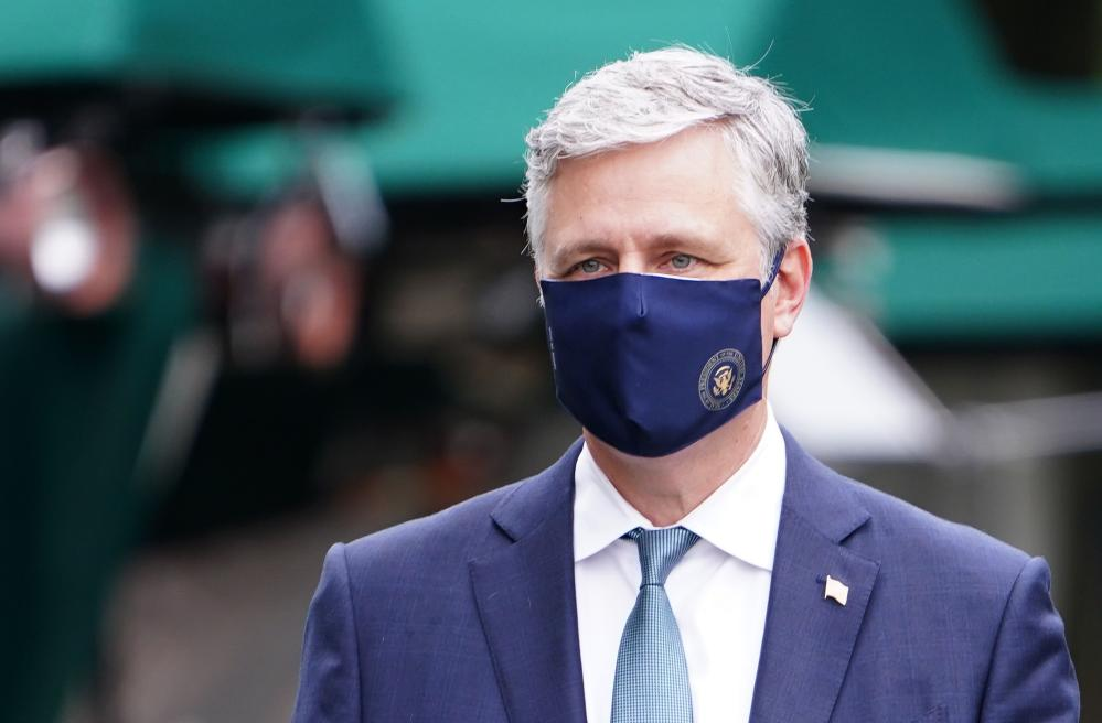 Donald Trump's national security advisor, Robert O'Brien, in a file photo wearing a US government-branded face mask.