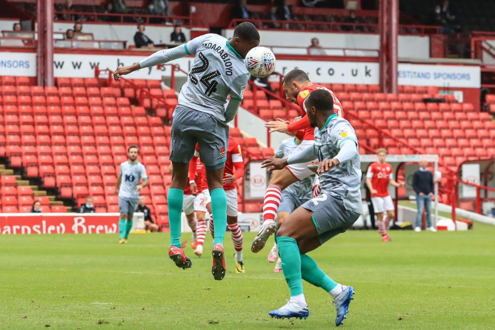 Conor Chaplin heads in the goal that takes Barnsley off the bottom of the table as it stands!