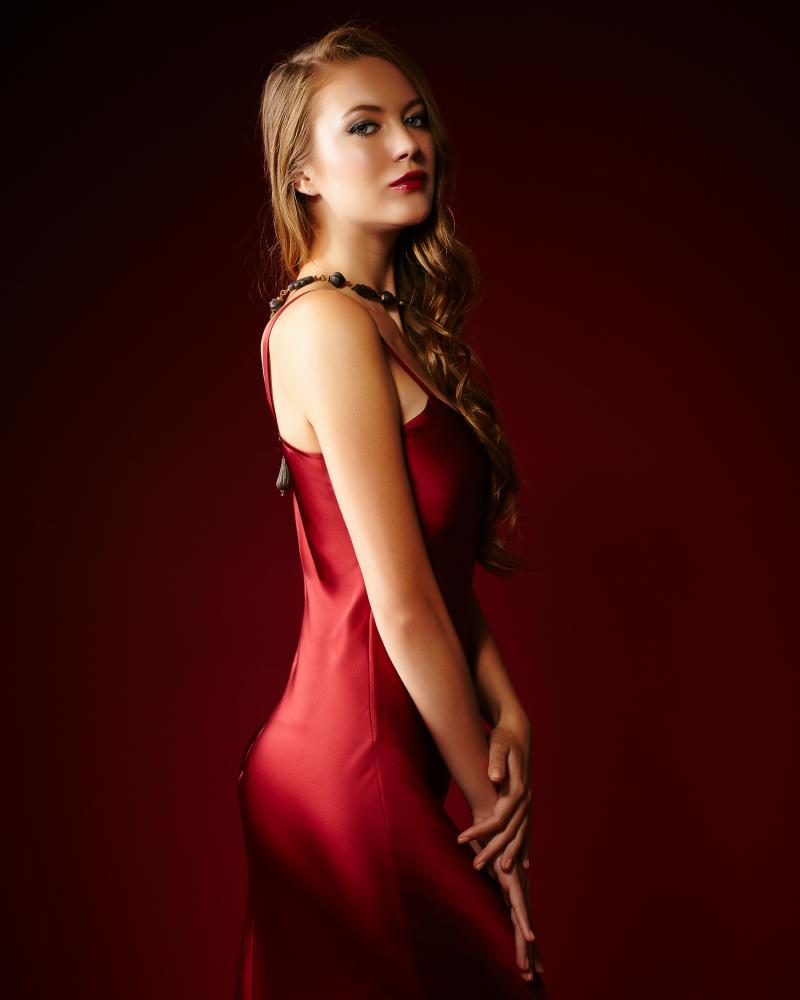 Conscious luxury: Garnet slip dress £220, slinky and red, available at Frances Thackray, Leamington Spa, and rosefulbright.com (from 5 September).
