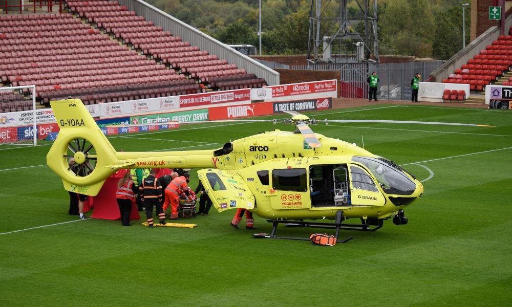 The Yorkshire Air Ambulance lands on the pitch at Oakwell.