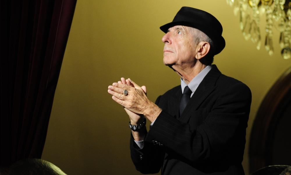 leonard cohen applauding at a tribute concert in a theatre in gijon spain in 2011
