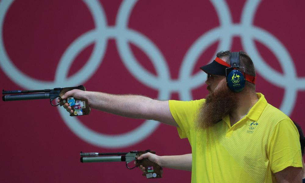 Daniel Repacholi competes in the men's 10m air pistol shooting qualification during the 2020 Olypmics.