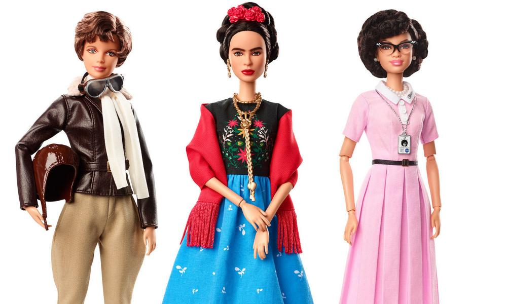 Barbie dolls in the image of pilot Amelia Earhart, left, Frida Kahlo, centre, and mathematician Katherine Johnson.