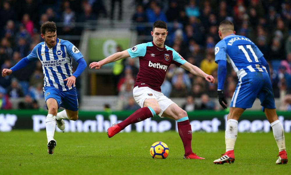 West Ham United's Declan Rice passes the ball during the Hammers' Premier League match against Brighton and Hove Albion.