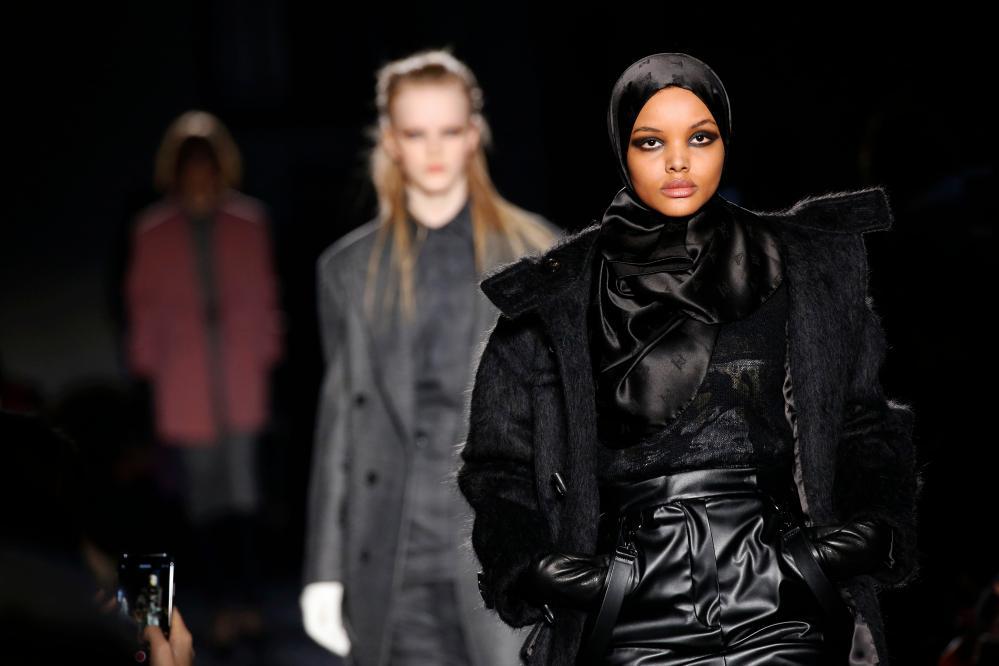 Halima Aden on the autumn/winter catwalk at Max Mara.