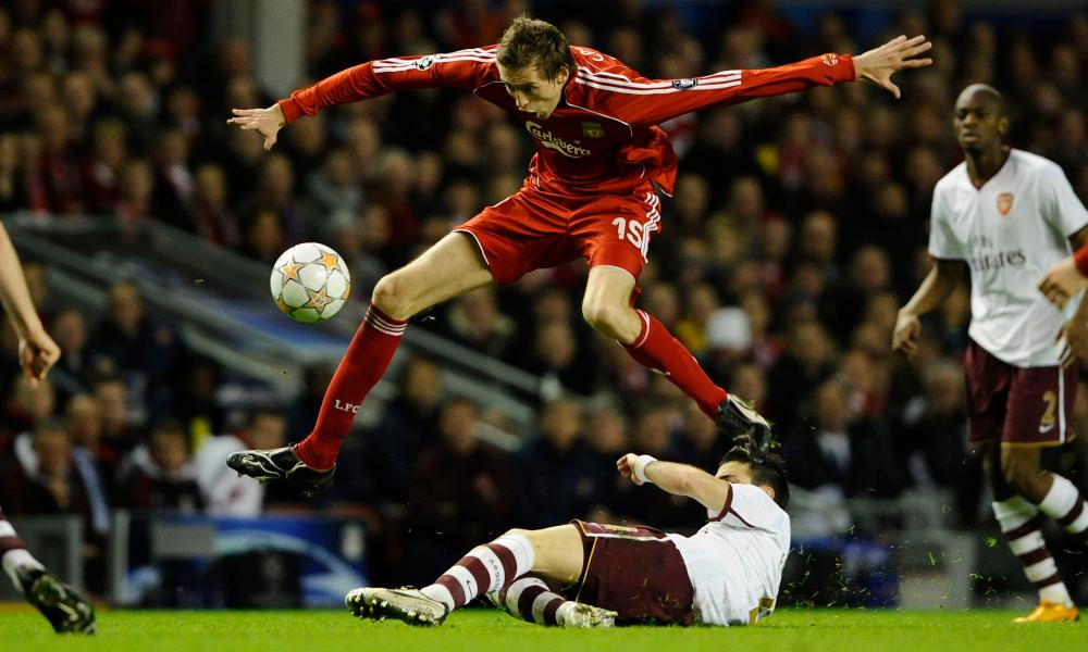 Peter Crouch in action for Liverpool against Arsenal in the Champions League in 2008.