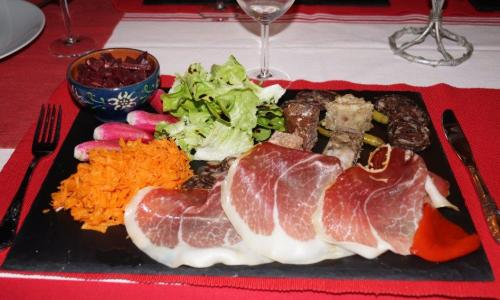 Plate of food from La Bergerie, Basque country, France.