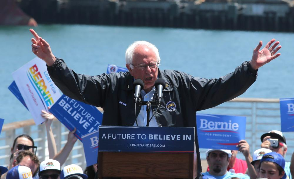Bernie Sanders addresses supporters including Harbor Union members outside the Los Angeles Maritime Museum.