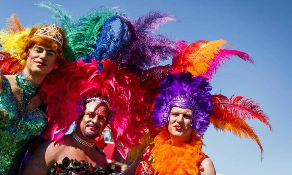 In fine feather at the Brighton Pride Parade.