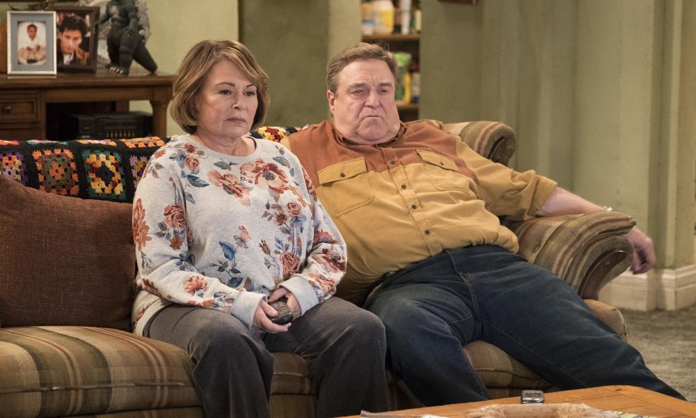 Roseanne with John Goodman in her rebooted sitcom.