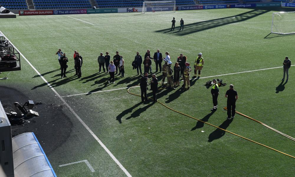 Marks on and beside the pitch in Andorra after the fire