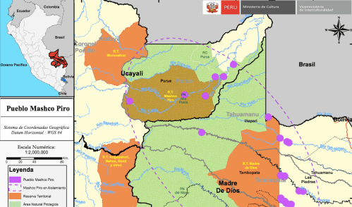 """Culture Ministry map showing areas inhabited by indigenous people living in """"isolation"""", known as the """"Mashco-Piro"""", in Ucayali, Madre de Dios and Cusco. A highway from the Purus province to Iñapari on the border with Brazil - see below for details - would cut right through this region."""