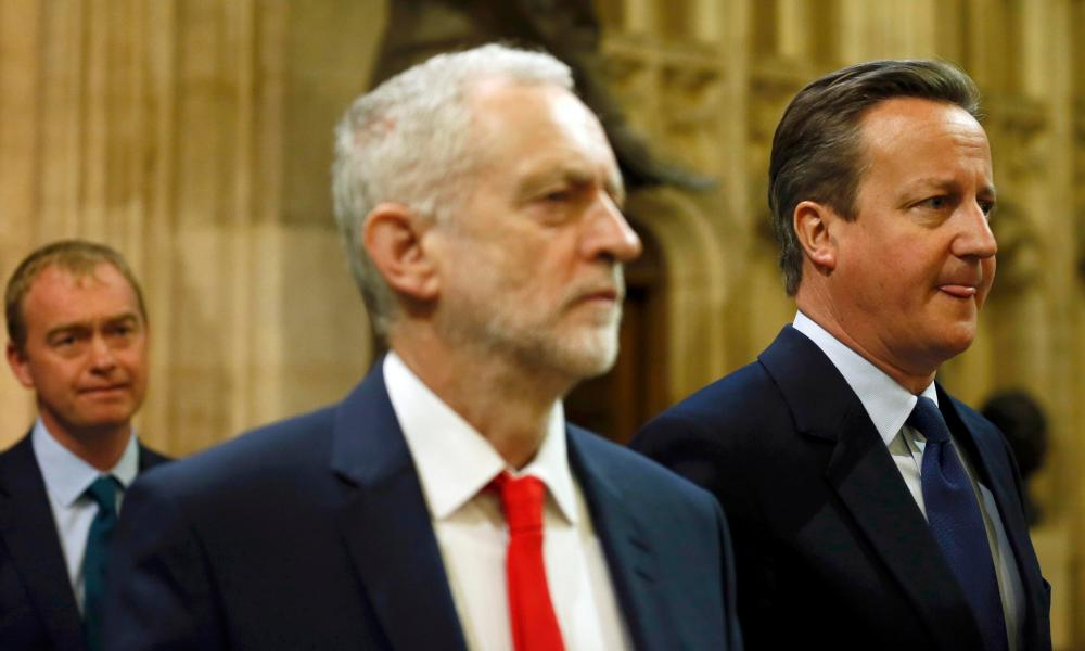 David Cameron and Jeremy Corbyn walk towards the House of Lords for the Queen's speech.