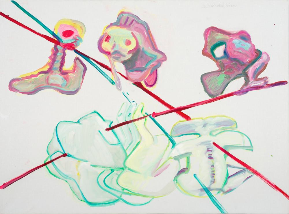 Schicksalslinien/Be-Ziehungen VIII (Lines of Fate/Re-lations VIII) 1994, by Maria Lassnig