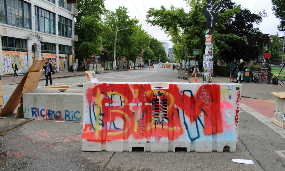 A barricade in Seattle's the occupied protest zone.