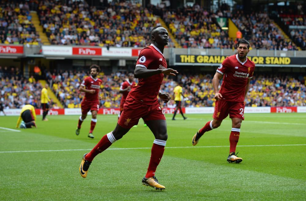 Mane celebrates scoring the equaliser.
