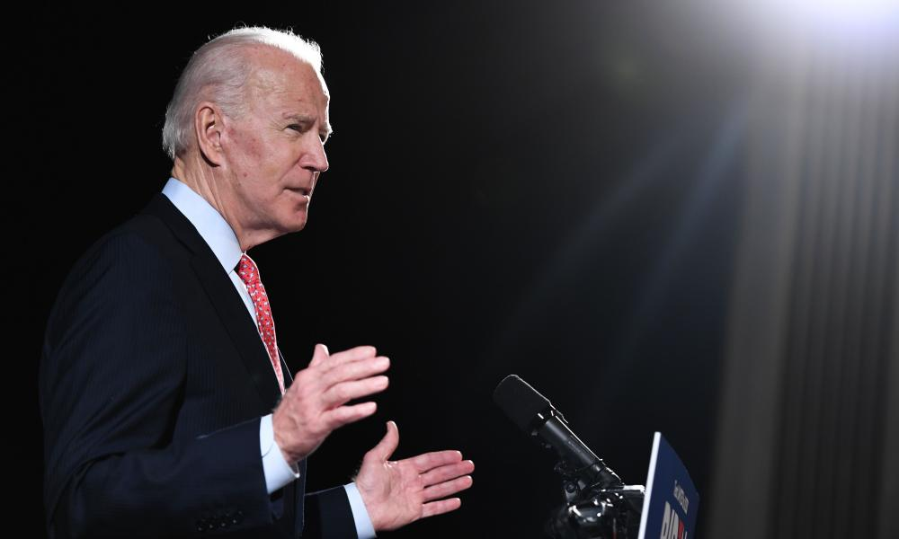 In this file photo taken on March 12, 2020 former US Vice President and Democratic presidential hopeful Joe Biden speaks about the coronavirus, during a press event in Wilmington, Delaware.