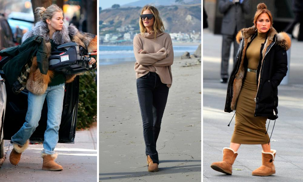 From left, Sienna Miller, Rosie Huntington-Whiteley and Jennifer Lopez wearing Ugg boots