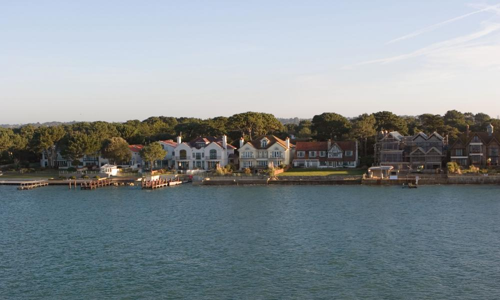 Panorama Road on Sandbanks seen from Poole Harbour.