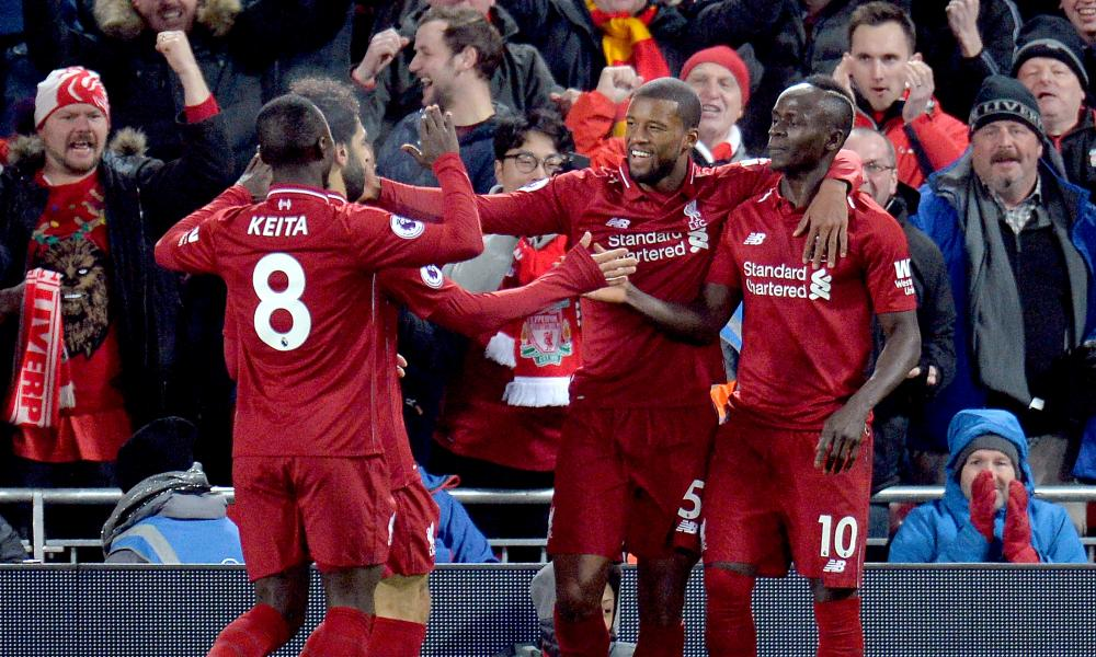 Liverpool's players celebrate
