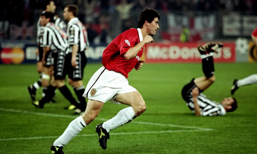 Manchester United captain Roy Keane wheels away after giving his side hope in their 1999 semi-final second leg in Turin. They would complete a comeback from 2-0 down to win 3-2 against Juventus.