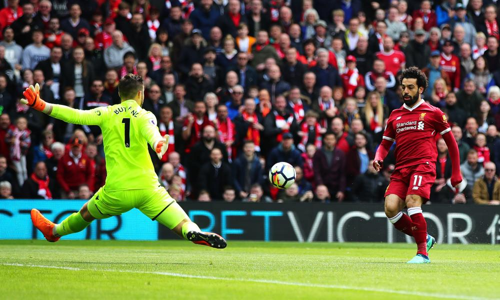 Mohamed Salah attempts to score against Stoke at Anfield last month.