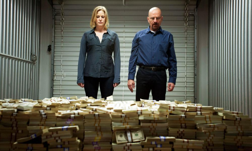 Cash and carry: Skyler White (Anna Gunn) and her husband Walter (Bryan Cranston).