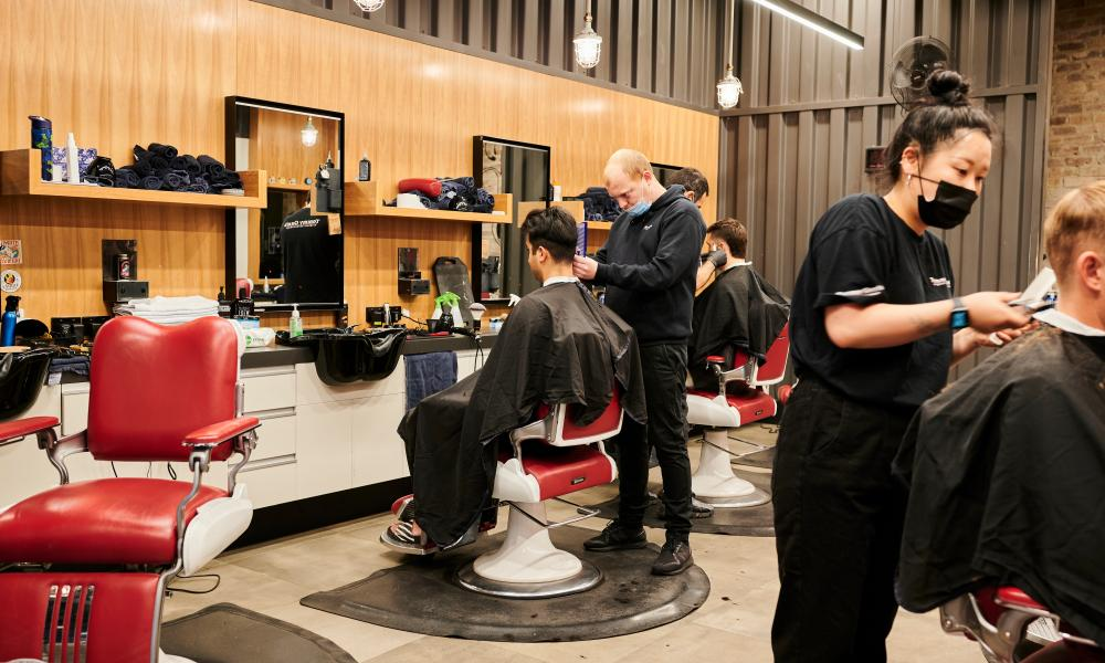 People getting haircuts in Canberra's CBD on 15 October 2021.