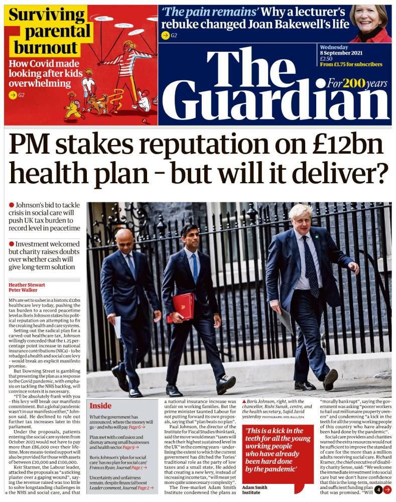 Guardian front page, 8 September 2021