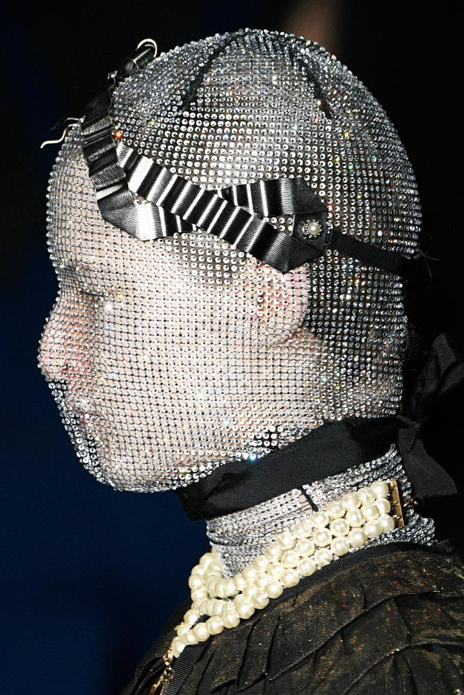 Chainmail face masks on the Gucci catwalk