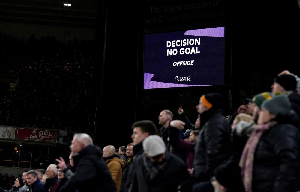 The Wolves fans react to the VAR decision.