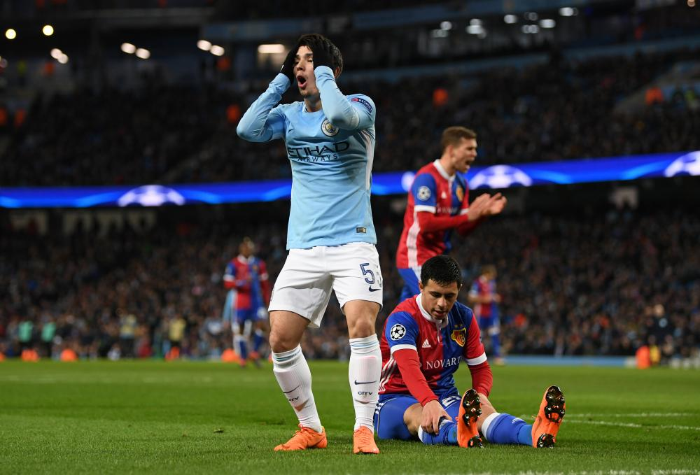 Brahim Diaz of Manchester City reacts after going close.