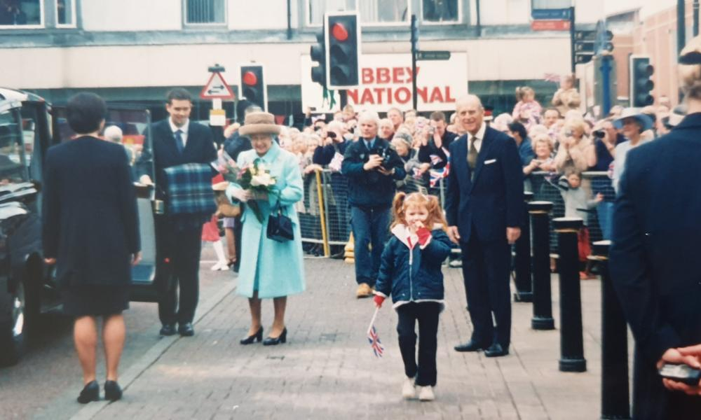 Abbie Spence, when she was five years old, after handing a bouquet to the Queen and Prince Philip outside Sunderland train station.