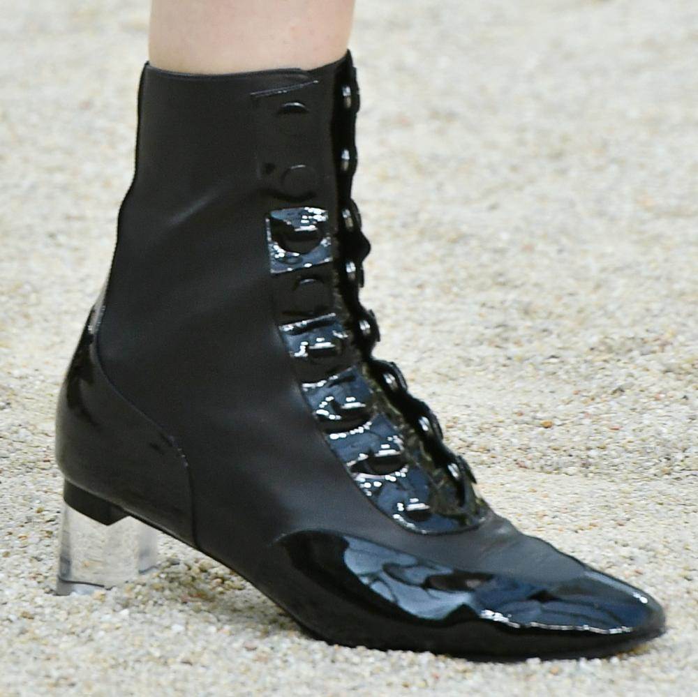 Black patent perspex-block-heel ankle boots.