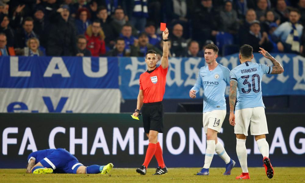 It's an early bath for Manchester City's Nicolas Otamendi.