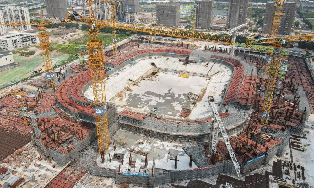 Guangzhou Evergrande stadium, designed to be the world's largest football-only arena, under construction in China's southern Guangdong province.