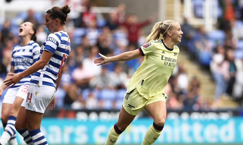 Beth Mead celebrates after scoring Arsenal's second goal in their win over Reading.