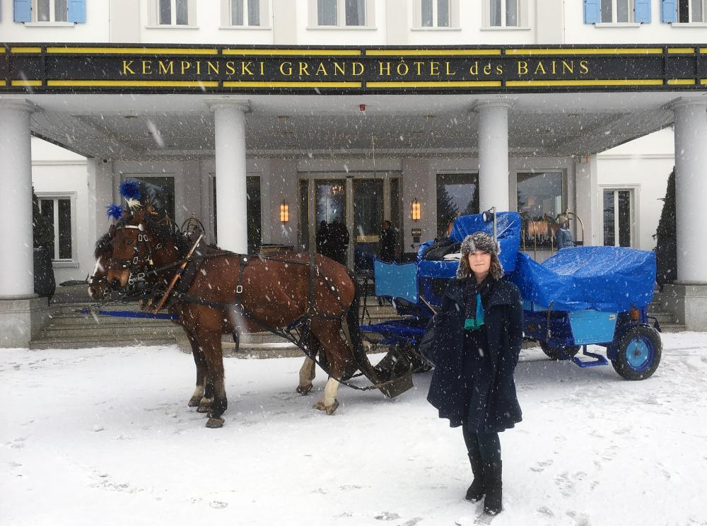 Debbie Lawson outside the Kempinski Grand Hotel des Bains, St Moritz.