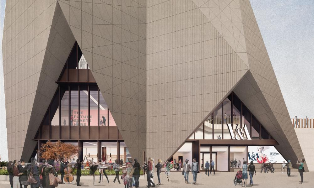 External render view of the new V&A museum at Stratford Waterfront.