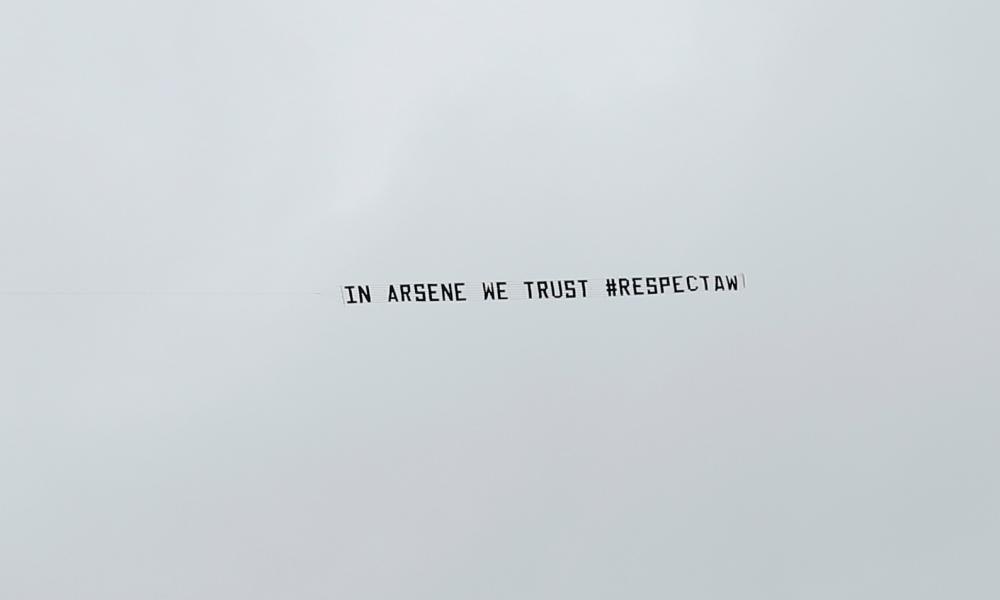 Another banner flown over the Hawthorns during Arsenal's defeat