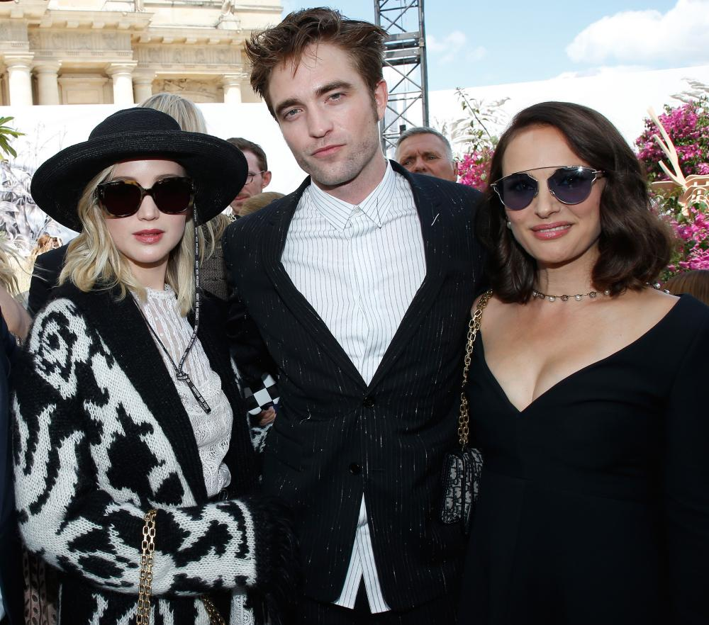 Jennifer Lawrence, Robert Pattinson and Natalie Portman at the Dior show.