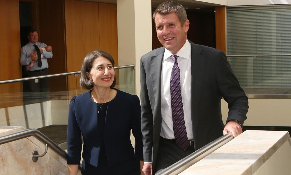 Gladys Berejiklian and Mike Baird at Parliament House in Sydney, January 2017
