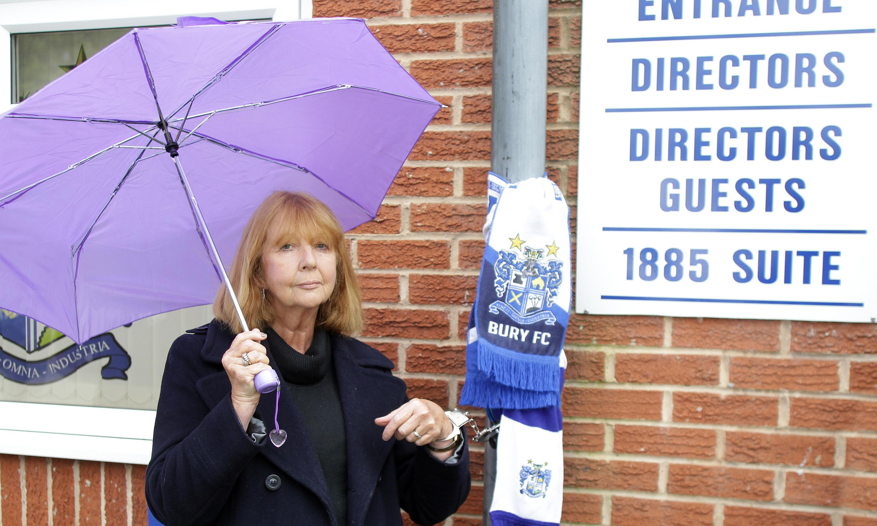 Former Bury FC director chains herself to drainpipe to save club