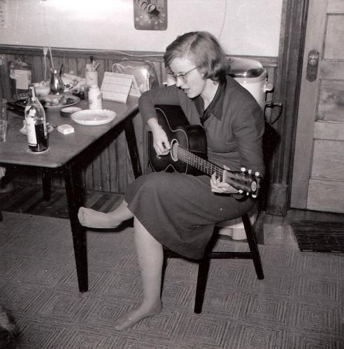 Connie Converse pictured in Schenectady, Christmas 1955.