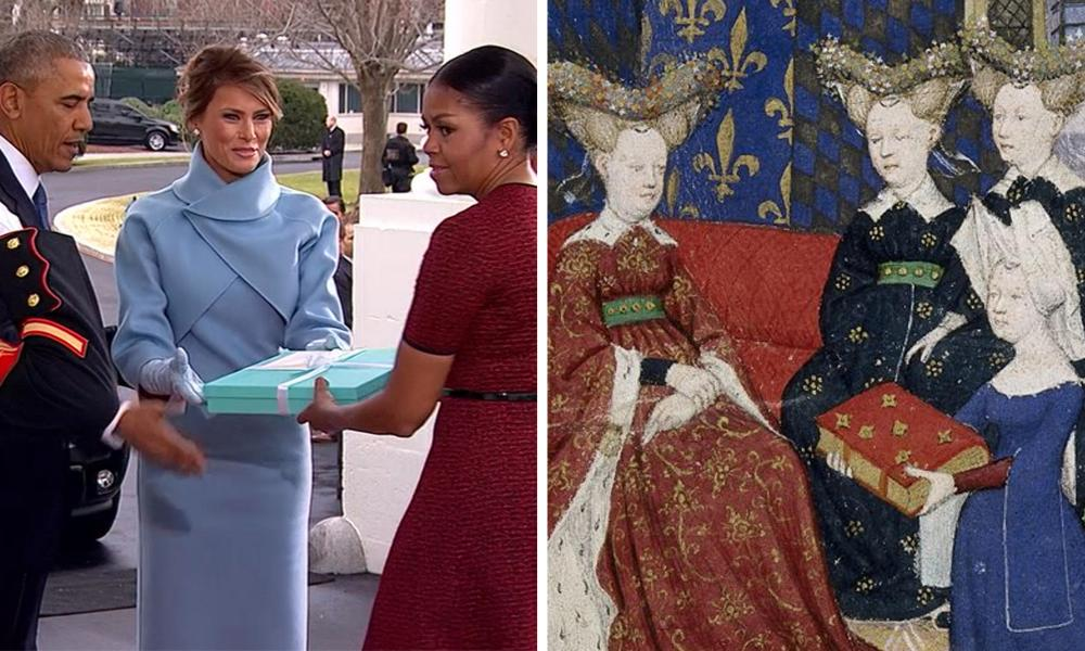 Melania Trump presenting Michelle Obama with a gift alongside the manuscript illumination of Christine de Pisan and Queen Isabeau.